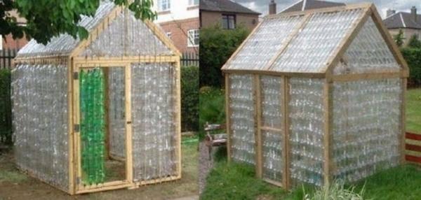 Serre une serre en bouteilles plastique pour presque rien - Construire son abri de jardin en palette ...