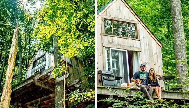 cabane romantique construite dans la for t en 6 semaines. Black Bedroom Furniture Sets. Home Design Ideas