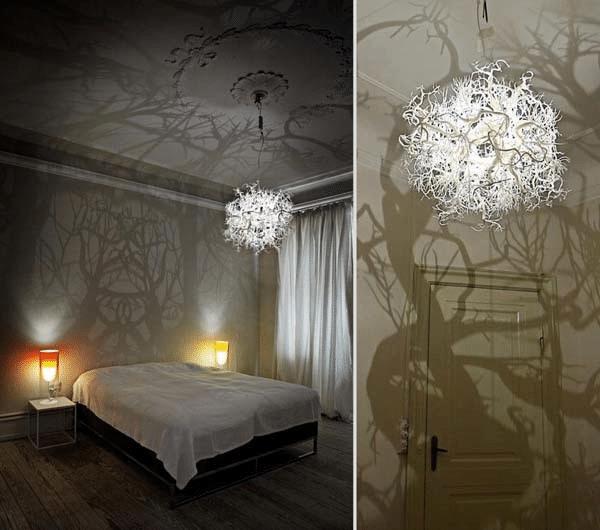 Lustre qui transforme votre chambre en forêt