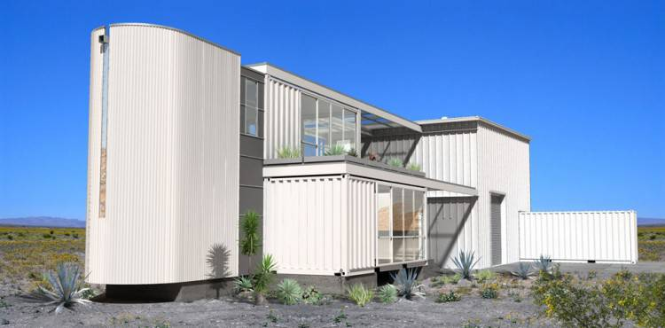 Shipping Container House in Mojave Desert by Ecotech Design View