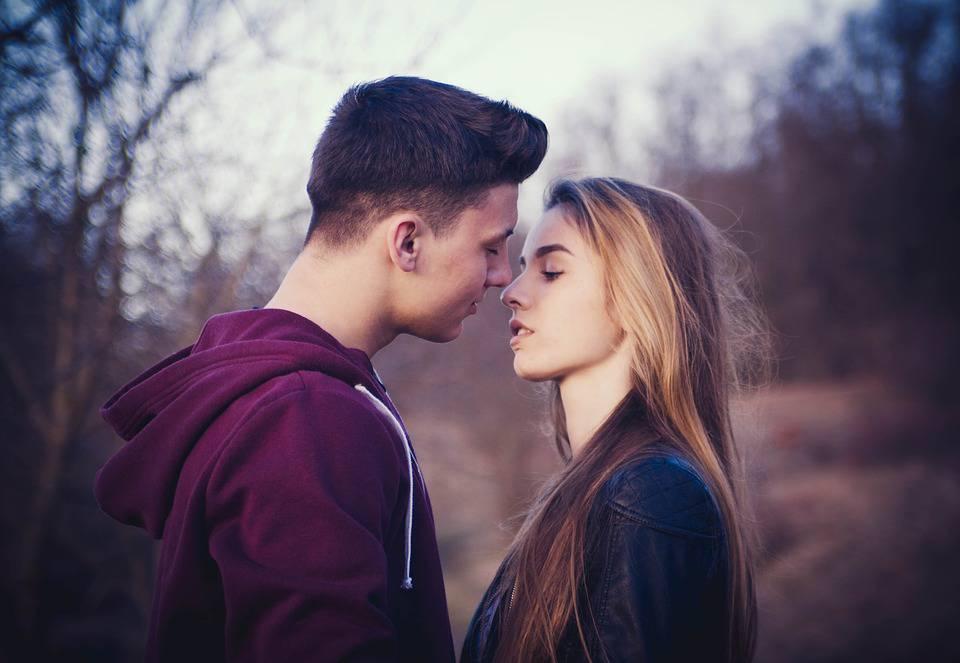 Portrait, Couple, Beauté, Baiser, Romance, Amour, Forêt