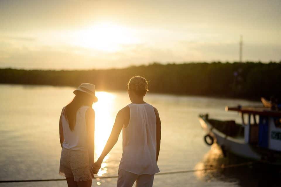 Couple, Romantique, L'Amour, Coucher De Soleil, Scène