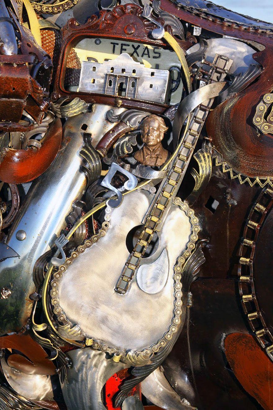 Un artiste transforme d'anciens équipements de ferme en de fabuleuses sculptures d'animaux.  Welded-scrap-metal-sculptures-john-lopez-13