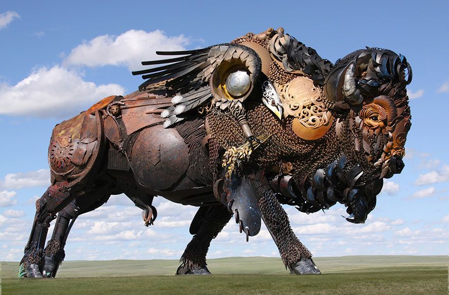 Un artiste transforme d'anciens équipements de ferme en de fabuleuses sculptures d'animaux.  Welded-scrap-metal-sculptures-john-lopez-19