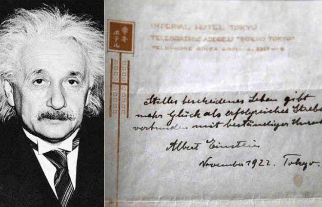 Des notes privées d'Albert Einstein sur le secret du bonheur ont été dévoilées