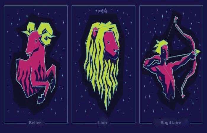 signes de feu - Bélier, Lion et Sagittaire